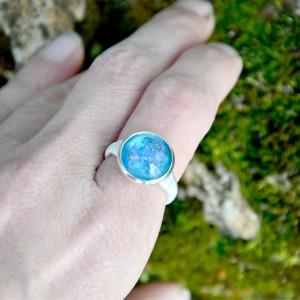 Zatopek pierścionek niezapominajki błękitne