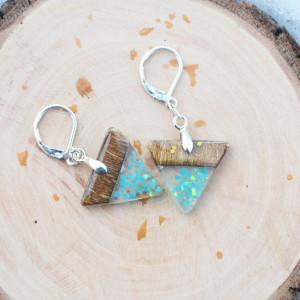Zatopki kolczyki trójkąty świecące
