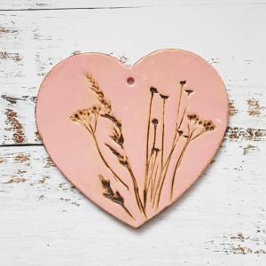 Zawieszka serce ceramiczne z rysunkiem roślin
