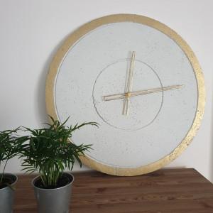 Zegar betonowy biały beton złoto wskaz. ażurowe