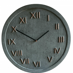 Zegar betonowy ciemnoszary miedź designerski 45cm