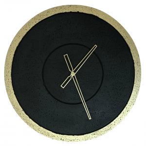 Zegar betonowy Groove Grafit-Złoto handmade