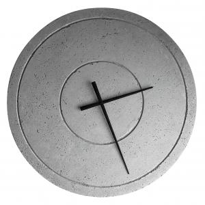 Zegar betonowy Groove Nautral Szary handmade