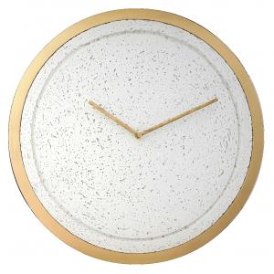 Zegar  betonowy Mini Groove Biały-Złota Rama
