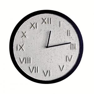 Zegar betonowy Roman Biały-Czarny-Złoty