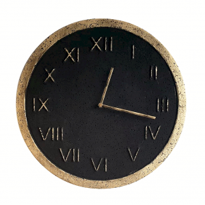 Zegar betonowy Roman Grafit/Złoto