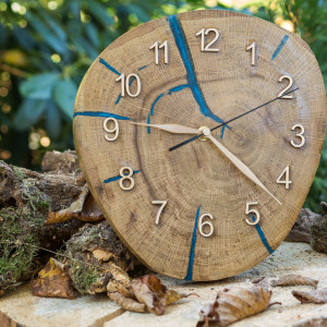 Zegar dąb z niebieską żywicą  C9 BLACK WEEK