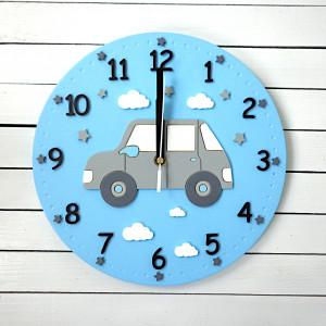 Zegar dla chłopca z samochodem