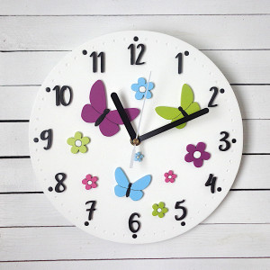 Zegar dla dziewczynki kwiaty i motyle