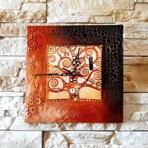 Zegar rękodzieło- G.Klimt- Drzewo życia