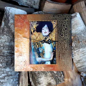 Zegar rękodzieło- G.Klimt- Judyta