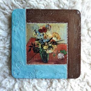 Zegar rękodzieło- Van Gogh- KWIATY