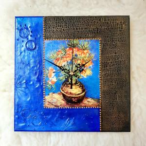 Zegar rękodzieło- Van Gogh- KWIATY (Niebieski)