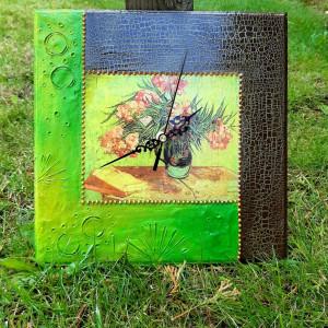 Zegar rękodzieło- Van Gogh- KWIATY (Zielony)