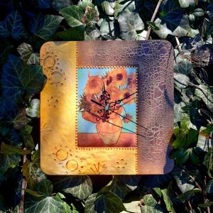 Zegar rękodzieło- Van Gogh- SŁONECZNIKI