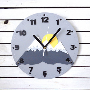 Zegar ścienny dla dziecka góry i słońce
