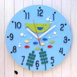 Zegar ścienny dla dziecka z rybkami