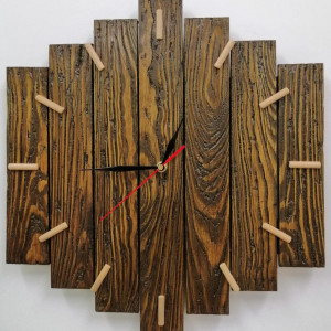 Zegar ścienny drewniany duży dąb rustykalny