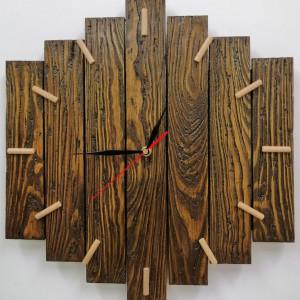 Zegar ścienny drewniany duży postarzany