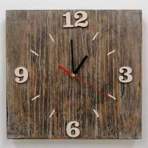 Zegar ścienny drewniany z desek kwadrat