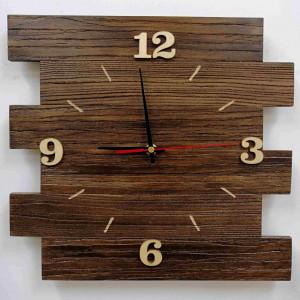 Zegar ścienny drewniany z desek, poziomy