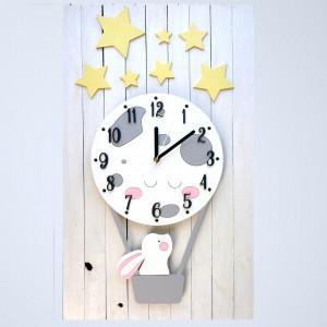 Zegar ścienny z księżycem i króliczkiem