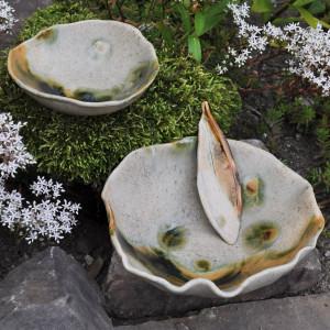 Zestaw 2 ceramicznych misek Szary Mat ze szpatułką