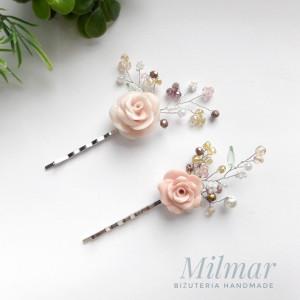 Zestaw 2 spinek do włosów z różą do włosów OZDOBA