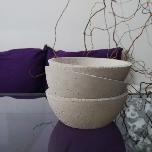 Zestaw 3 betonowych okrągłych misek