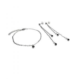 Zestaw biżuterii z czarną cyrkonią