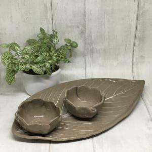 Zestaw ceramiczny - Beżowy Liść