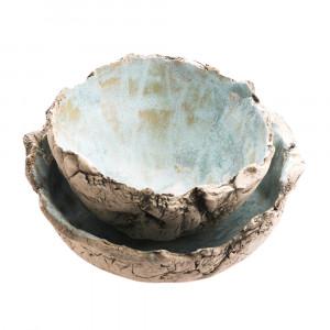 Zestaw ceramiczny - dwie miseczki błękitne
