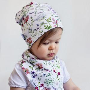 Zestaw czapka+komin/chusta kwiaty