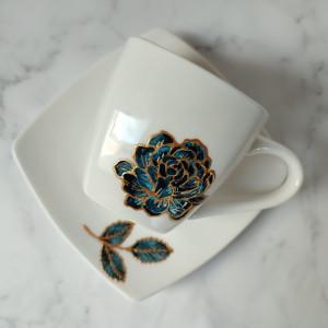 Zestaw filiżanka i talerzyk niebieska róża