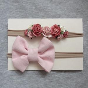zestaw opasek 2 szt kwiaty kokarda róż