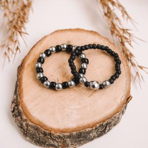 Zestaw pierścionków- SILVER & BLACK HEMATYT + TOHO