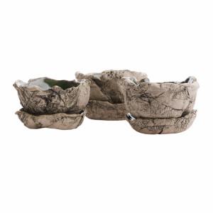 Zestaw trzech ceramicznych doniczek
