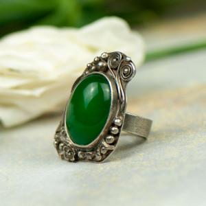 Zielona bryza - pierścionek srebrny a566