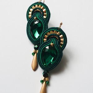 Zielone kolczyki z dodatkiem złota