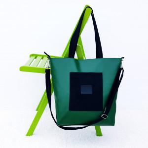 Zielono czarna  torebka listonoszka  Anatola