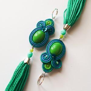 Zielono-turkusowe kolczyki z chwostami