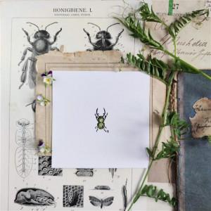 Zielony chrząszcz, ręcznie malowna miniatura