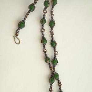 Zielony komplet -  naszyjnik i bransoleta