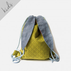 Zielony pikowany plecak króliczek