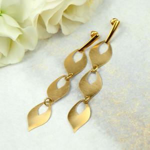 Złote łezki kolczyki z mosiądzu Rea 3