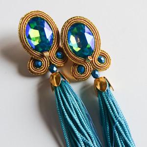 Złoto-turkusowe sztyfty z długimi frędzlami