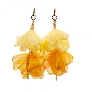 Żółte kolczyki kwiatowe z łańcuszkiem c857-16