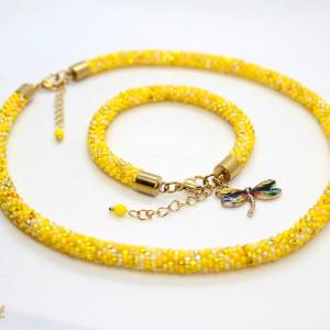 Żółty komplet biżuterii z drobnych koralików
